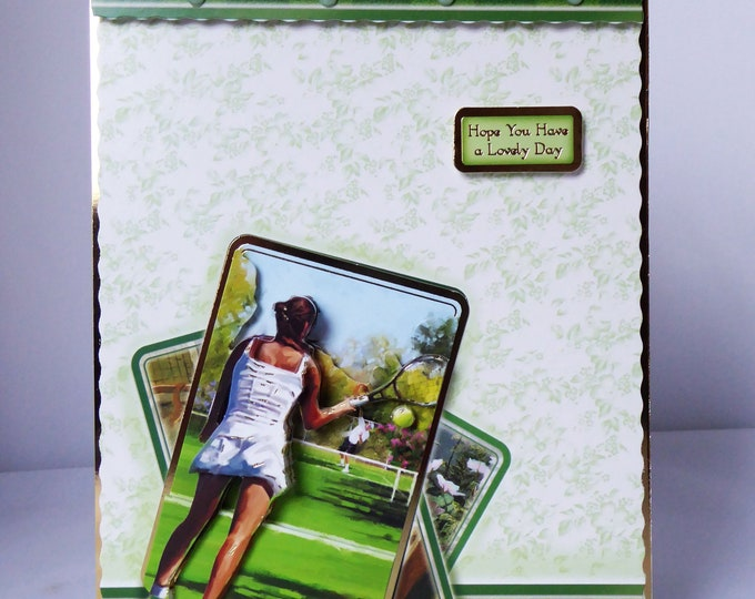 Ladies Tennis Card, Sports Card, Anyone For Tennis, Game Set And Match, 3D Decoupage Card, Special Birthday Card, Special Day, Handmade