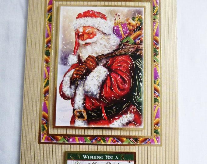 Vintage Santa Christmas Card, Greeting Card, Father Christmas, Santa Claus, Festive Season, Seasons Greetings,