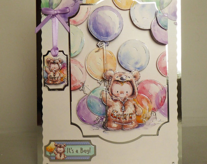 New Baby Card, New Arrival Card, Its A Boy, Special Delivery, 3 D Decoupage, Celebrate The New Arrival, Special Boy, Little Boy, Handmade