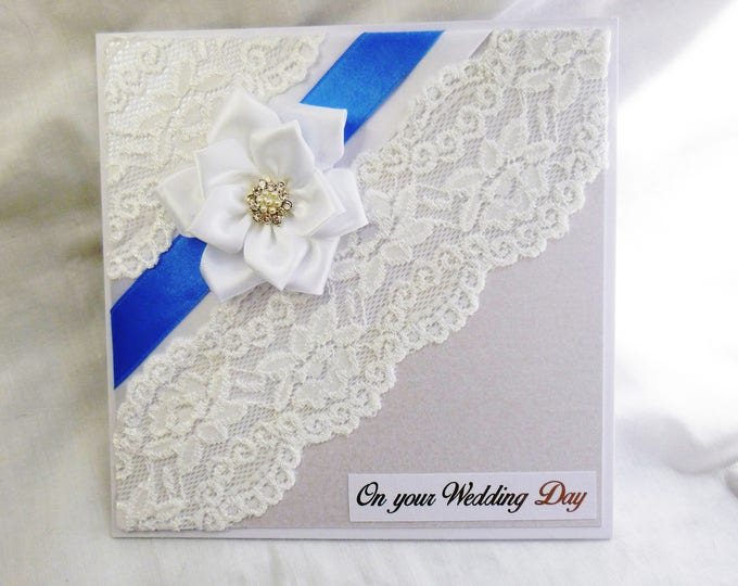 Wedding Day Card, Wedding, On Your Special Day, On Your Wedding Day, Congratulations, Bride and Groom, Mr and Mrs, Lace and Ribbon
