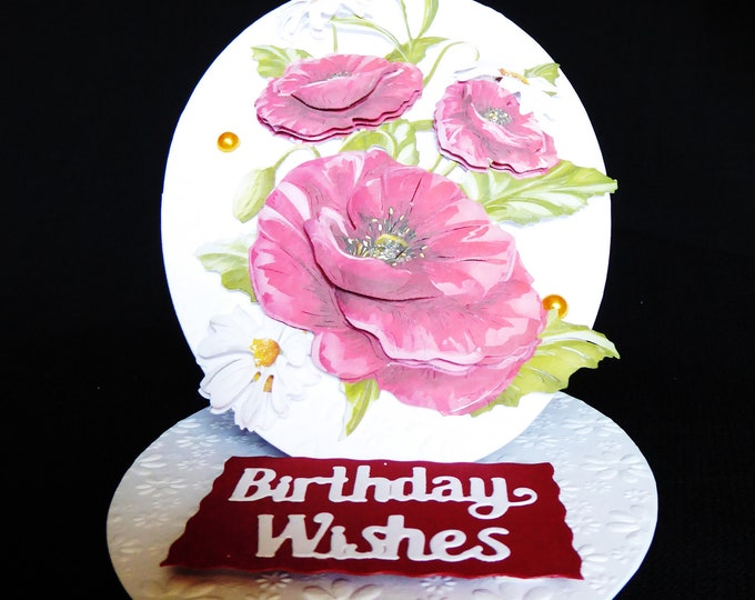 3 D Decoupage Floral Easel Card, Birthday Whishes, Special Birthday, Especially For You, Red And White Flowers, Handmade,