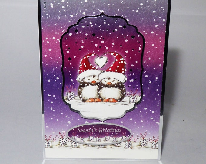 Cute Christmas Card, Two Penguins, Seasons Greetings, Festive Greetings, Merry Christmas, Card for A Couple, Handmade In The UK, Personalise