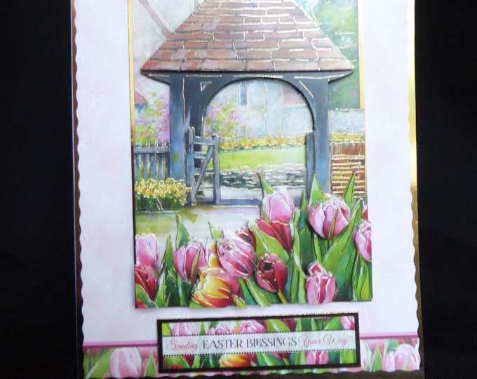 Church Gate, Easter Card, 3 D Decoupage Card, Spring Card, Spring Flowers, Easter Blessings, Handmade In  The UK, Special Greetings