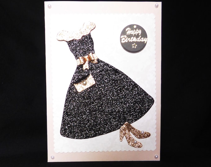 Black Glitter Party Dress, Special Birthday, Especially For You, Happy Birthday, Special Day Card, Celebrate Your Day, Handmade In The UK