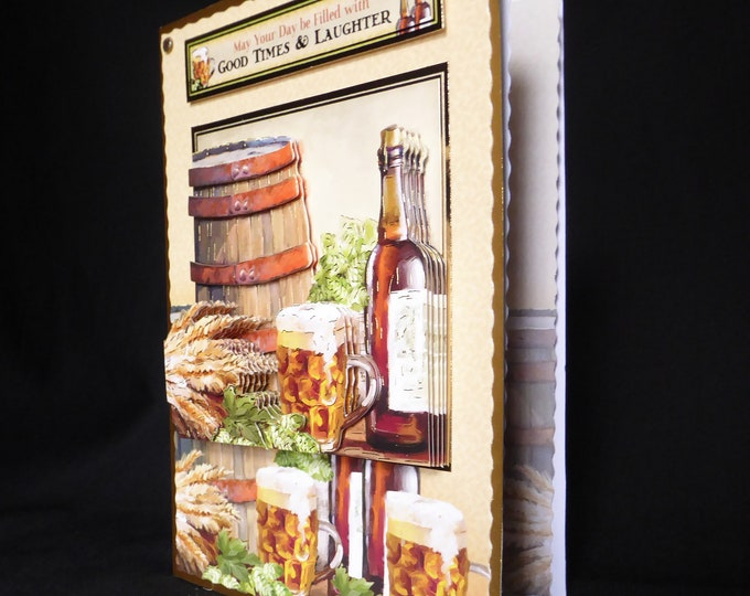 3D Decoupage Card, Especially For You, Special Day Card, Special Birthday, Beer And Hops, Celebrate Your Day, Handmade In The UK