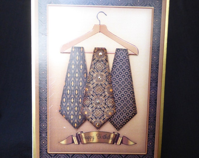 Mans Card, Three Ties, 3D Decoupage Card, Special Birthday, Especially For You, Birthday, Handmade In The UK
