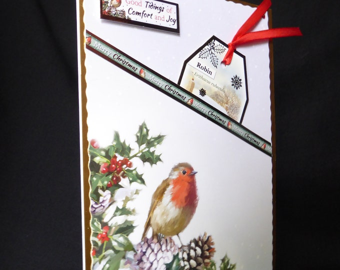 Robin Christmas Card, Bird Card, Merry Christmas, Seasonal Greetings, Festive Greetings, Christmas Greetings, Handmade In The UK