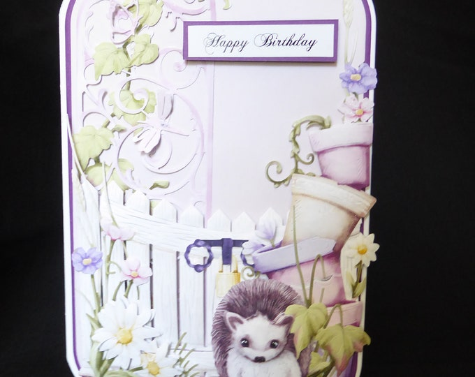 Hedgehog Card, 3 D Decoupage Card, Floral Card, Animal Card, Birthday Card, Especially For you,  Special Day Card,Handmade In The UK