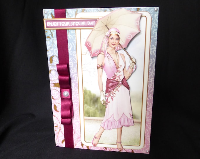 Art Deco 3 D Decoupage Card, 1920's Style Card, Special Birthday Card, Enjoy Your Special Day, Happy Birthday, Especially For You Card