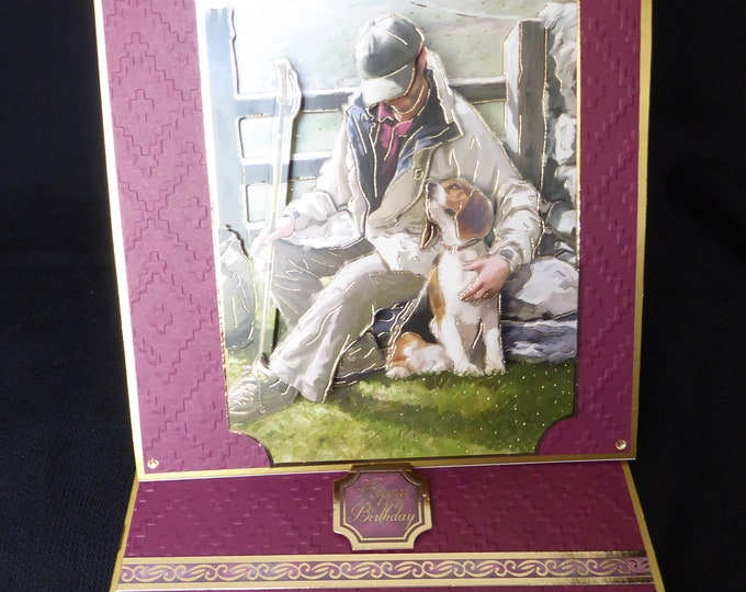 Man and His Dog, 3 D Decoupage Card, Easel Shaped Card, Countryside Card, Especially For You, Birthday Greetings, Special Day Card, Handmade