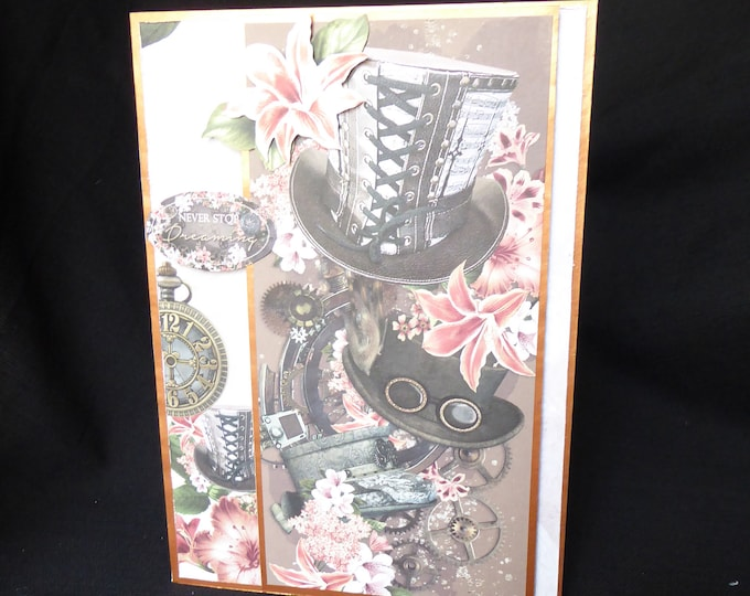Steampunk Card, Birthday Greeting Card, Especially For You, Special Day Card, Special Birthday, Handmade In The UK, Personalised
