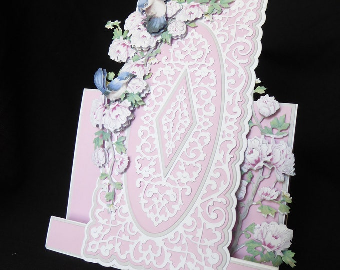 Floral Card, Blue Birds, Decoupage Stepper Card, Especially For You, Special Birthday, Special Day Card, Special Day Card, Handmade