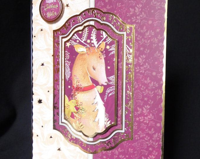 Reindeer Christmas Card, Seasonal Greetings, Festive Card, Christmas Wishes, Christmas Greetings, Festive Fun, Handmade In The UK
