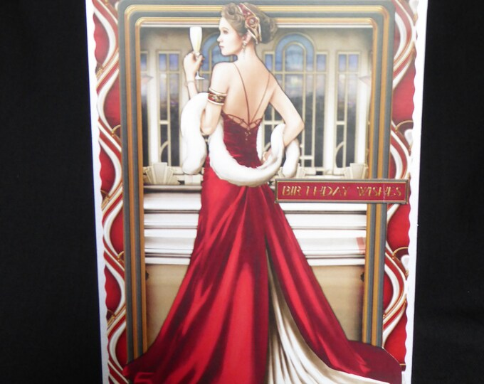 Art Deco Card, 1920's Style Card, Special Birthday Card, Just For You, Birthday Wishes, Especially For You Card, Handmade IIn The UK