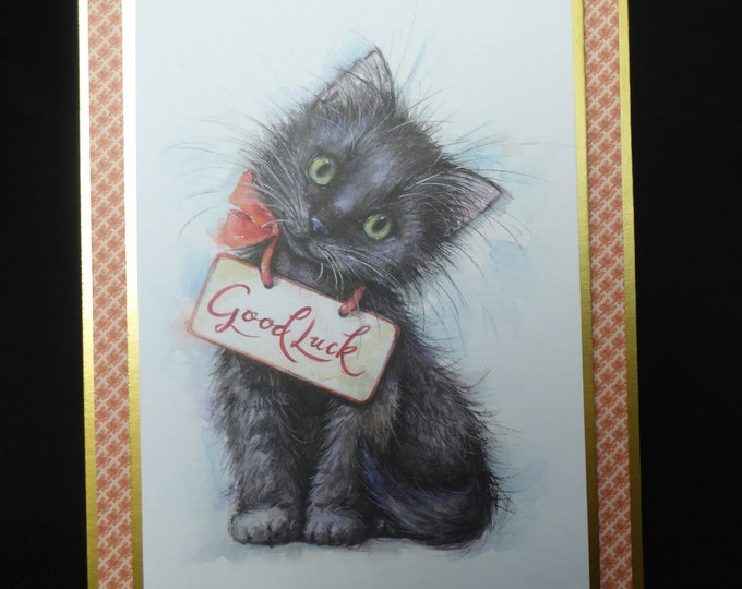 Cat Card, Lucky BlackCat, Especially For You, Special Birthday, Special Day, Celebrate Your Day, Any Occasion, Handmade In The UK