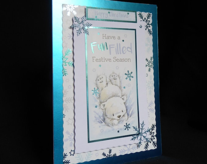 Polar Bear Christmas Card, Winter Scene, Seasonal Greetings, Happy Christmas, Festive Greetings, Christmas Fun, Handmade In The UK