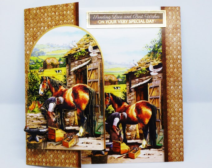 Farrier Man and Horse, Countryside Scene, Farmyard, 3 D Decoupage Card, Fathers Day Card, Birthday Card, Male, Any Age