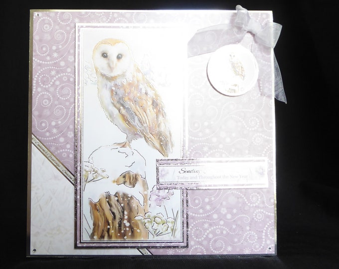 Owl Christmas Card, Bird Christmas Card, Winter Scene, Seasonal Greetings, Festive Greetings, Snow Scene, Handmade In The UK