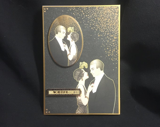 Art Deco Anniversary Card, Wedding Card, To A Wonderful Couple, Especially For You, Special Day Card, Special Occasion, Handmade In The UK