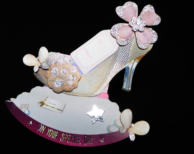 Shoe Rocker Card, Decoupage Shoe, Shoe Card, On Your Special Day, Especially For You, Special Birthday, Handcrafted,