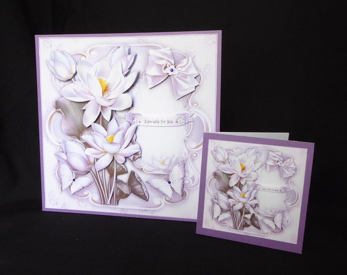 Purple Flowers Card, 3D Decoupage Card, Any Occasion Card, Birthday Card, Especially For You, Special Day Card, Gift Card