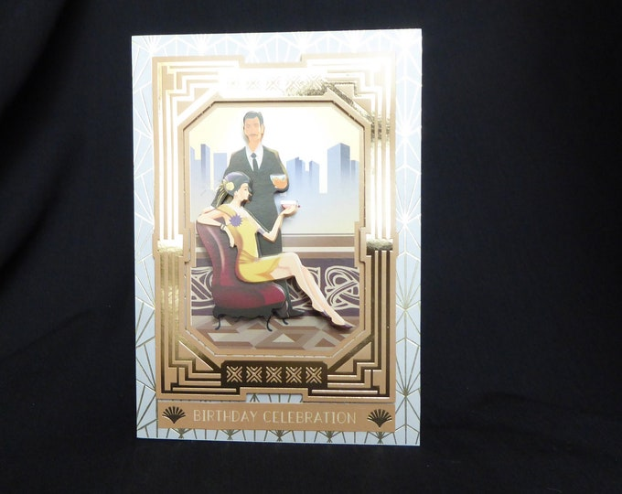 Art Deco Birthday Card, 3 D Decoupage Card, Lady Drinking Cocktails, Special Birthday, Especially For You, Celebrate In Style, Handmade