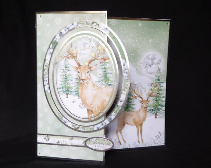 A Large Christmas Card, Stag Standing In The Snow, Christmas Greetings, Christmas Is Here, Festive Greetings, Seasonal Greetings Handmade