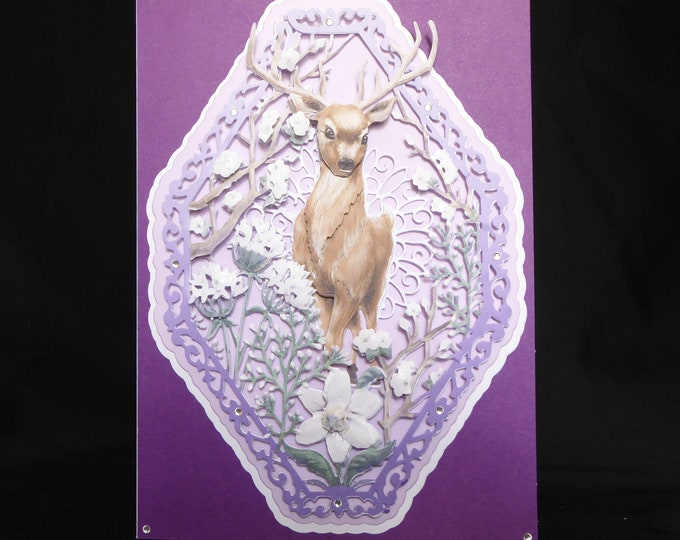 Deer 3 D Decoupage Card, Any Occasion Card, Birthday Card, Special Day Card, Wedding Card, Anniversay Card, Handmade In The UK