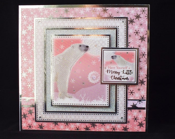 Polar Bear Card, Festive Card, Modern Card, Seasonal Greetings, White Bear Card, Pink Silver And White,