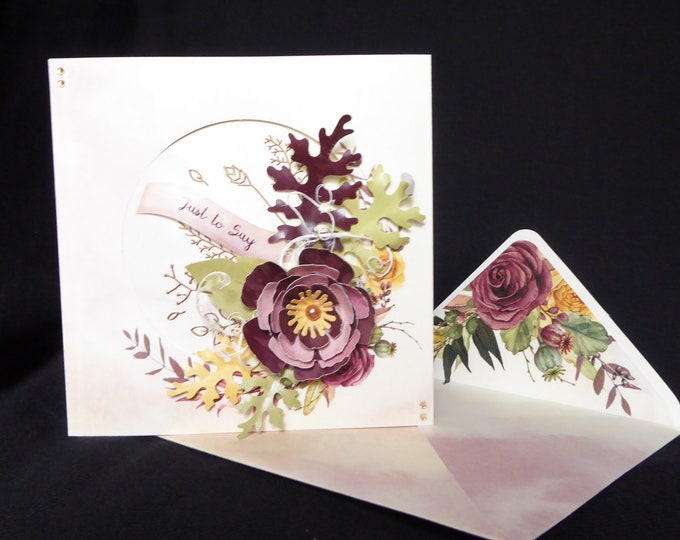 Floral Greeting Card, Birthday Card, Just To Say Card, Especially For You, Special Day Card, Celebration Card, Handmade In The UK