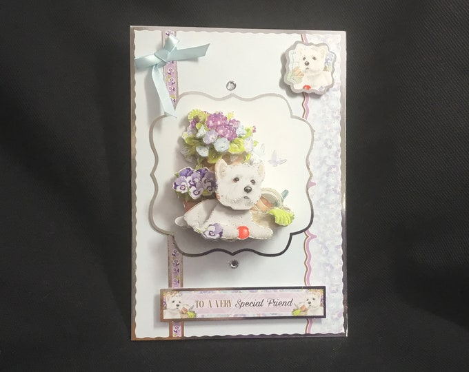 3D Decoupage Card, Small Dog, To A Special Friend, Especially For You, Special Day Card, Special Occasion, Celebrate Your Day, Handmade