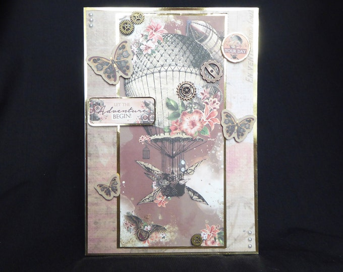 Steampunk Style Card, Birthday Card, Especially For You, Special Day, Let The Aventure Begin, Todays Your Day, Handmade In The Uk