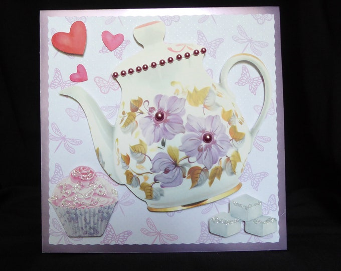 Tea Pot Card, Afternoon Tea, Tea And Cake, Birthday Card, Especially For You, Special Day Card, Special Birthday, Birthday Greetings,