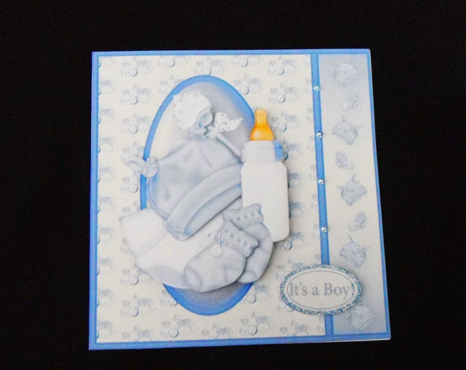 Its A Boy Card, New Baby Boy, New Arrival, 3D Decoupage Card, Just Arrived, Just For You, Special Delivery, Handmade In The UK