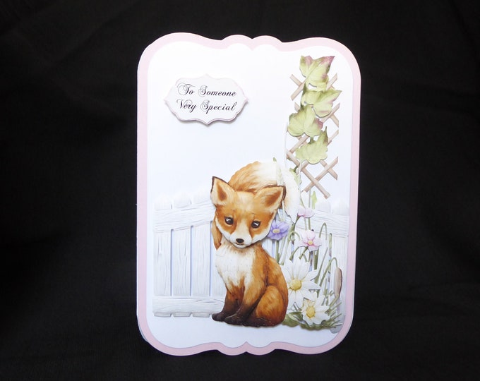 Little Fox Card, 3 D Decoupage Card, To Someone Special, Especially For You, Special Birthday, Special Day, Celebrate Your Day, Handcrafted