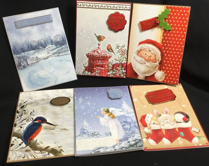 Pack Of Six Traditional Christmas Cards, Seasonal Greetings, Festive Greetings, Time To Celebrate, Celebration Time, Handmade In The UK