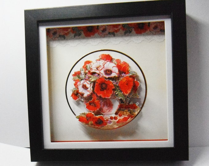 Floral Shadowbox Picture, 3 D Decoupage Picture, Gift For Christmas, Birthday Gift, Wedding Gift, Anniversary Gift, House Warming Gift