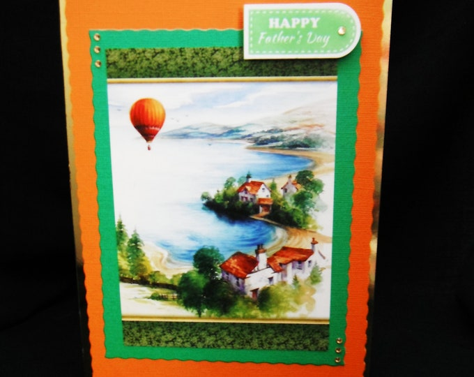 Fathers Day Card, Coastal Village, Hot Air Balloon, Special Dad, Special Father, Enjoy Your Day, Happy Fathers Day, Handmade, Personalised