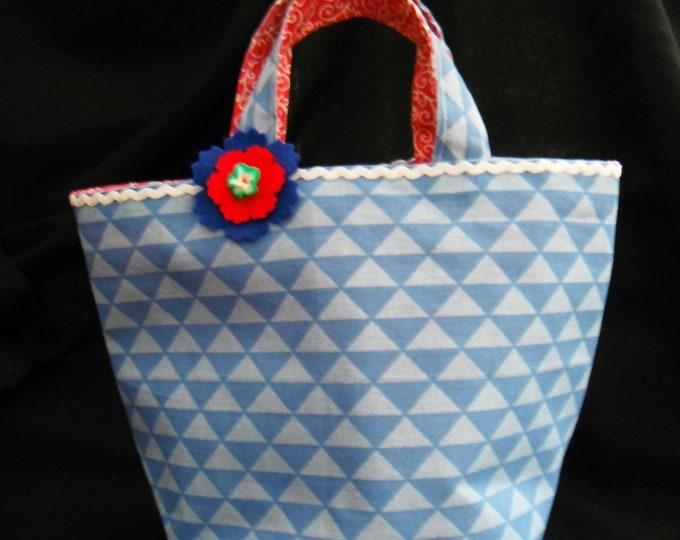 Cotton Tote Bag, Small Cotton Bag, Lunch Bag, Anytime Bag, Handmade,