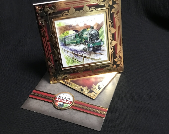 Steam Train Card, Twisted Easel Card, Especially For You, Special Day Card, Concept Card, Handmade In The UK,