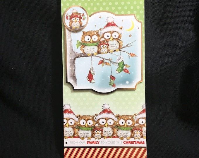Owl 3D Decoupage, Christmas Card, Greeting Card, Owl Family, Festive Greetings, Christmas Celebrations, Seasonal Greetings,