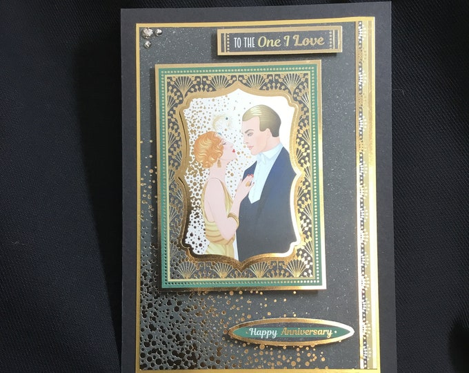 Art Deco Anniversary Card, To The One I Love, Especially For You, Special Day Card, Special Couple, Anniversary Card, Handmade In The UK
