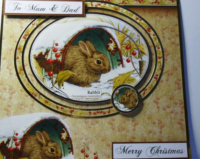 To Mum and Dad Christmas Card, Greeting Card, Winter Scene, Rabbit Card, Animal Card, Nature Card, Large Card, 8 x 8 inch,