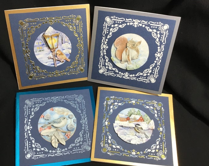 Pack Of Four 3D Decoupage Christmas Cards, Traditional Cards, Handmade In The UK, Seasonal Greetings, Festive Fun, Family Gatherings.