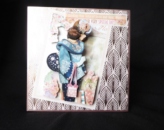 Art Deco 3D Decoupage Card, Birthday Card, Special Day Card, Especially For You, Any Occasion, Handmade In The Uk
