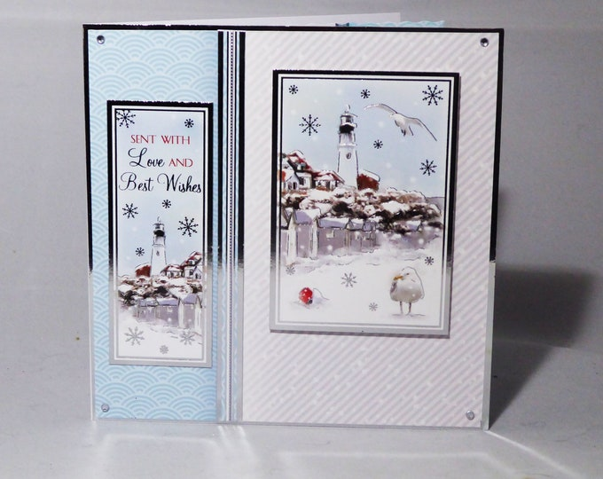 Christmas Card, Birthday Card, Winter Village Scene, Village Light House, Seasonal Greetings, Handmade In The UK, Personalised