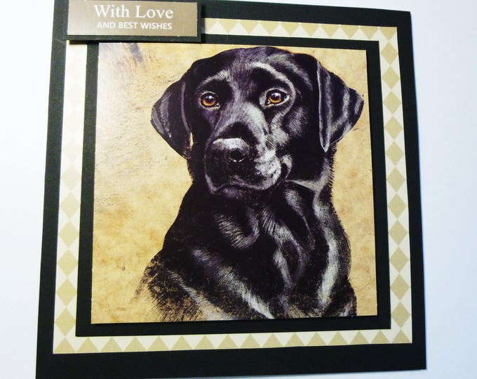 Black Labrador Card, Greeting Card, Dog Card, Birthday Card, Animal Card, Black Dog Card,  Handmade Card, Special Birthday Card,