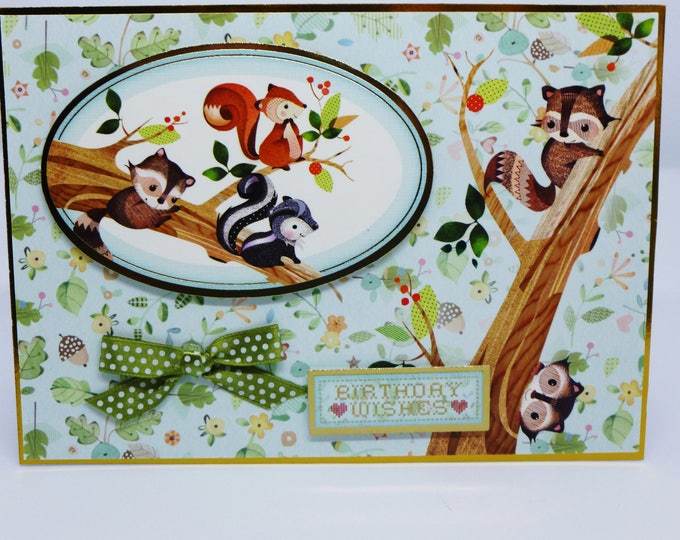 Woodland Creatures, Animals, Nature Card, Squirrels in a Tree, Children's Card, Birthday Wishes, day Of Fun, Especially For You, Personalise