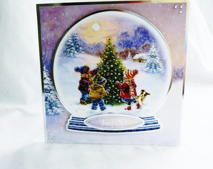 Christmas Card, Greeting Card, Christmas Snow Globe, Children Decorating Christmas Tree, Any Age, Male or Female,