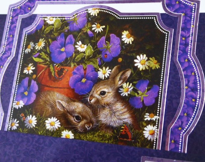 Rabbits and Flowers, Animal Card, Happy Birthday Card, Best Wishes Card, Step Card, Personalised, Handmade In The UK